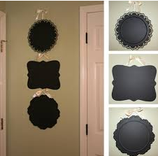 Dollar Store Platters Covered in Chalkboard Paint